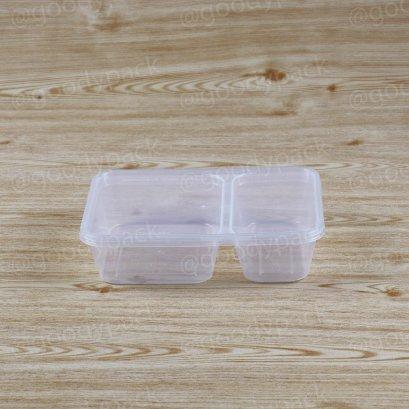 กล่องอาหารเหลี่ยม 2 ช่อง  500 ml+ฝาสีใส